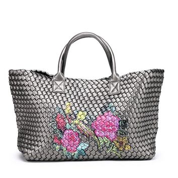 Ladies High Quality Woven Leather Cross Stitch Hobo Graffiti Handbag Women Large Capacity knitting Bag Casual