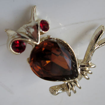 Vintage Owl Brooch Brown Rhinestone Chest Red Eyes by Dodds