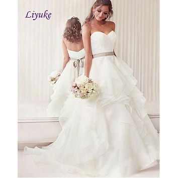 Stunning Organza Sweetheart Sleeveless Ball Gown Wedding Dress Ruched Pleats Off The Shoulder Tiered Train Vestido De Noiva