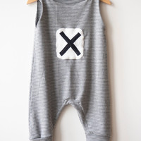 Baby romper | Hipster baby jumpsuit | Baby sensory clothing | Grey stripes | Harem Pants | Baby clothing | Unisex cloth | 3 months - 3 years