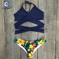 Cupshe Flower Bomb Cross Bikini Set Women Summer Sexy Swimsuit Ladies Beach Bathing Suit swimwear