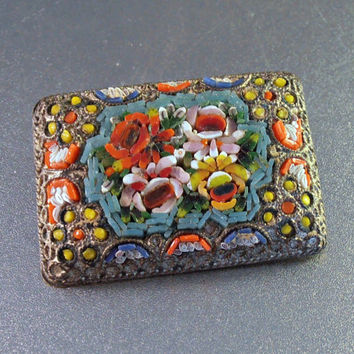 Micro Mosaic Brooch, Made in Italy, Italian Multi Colored Floral