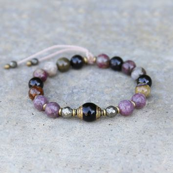 Lepidolite and Tourmaline Bracelet