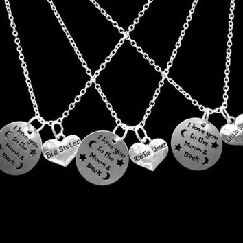 3 Necklaces I Love You To The Moon And Back Big Sister Middle Little Sister Set