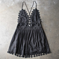 summer lace mini dress - black