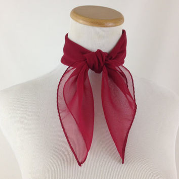 Cranberry Red Chiffon Neck Scarf by Vera Neumann Lightweight Maroon Sheer Scarf Romantic Deep Red Pinup Headscarf