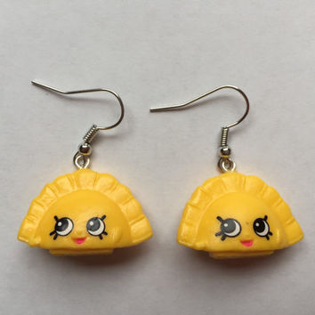 Shopkins Foodie Earrings - Humpty Dumpling (yellow) - made with repurposed toys