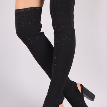 Bamboo Glitter Knit Peep Toe Chunky Heeled Over-The-Knee Boots