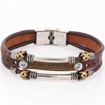 Engraved Rhinestone Faux Leather Bracelet - Brown