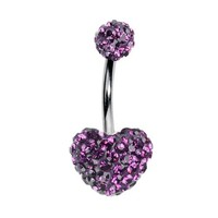 Heart Belly Ring Style Purple Crystals Stones Double Gem Belly Button Ring Crystals Purple