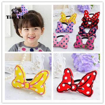 Korean Girls Hair Accessories Polka Dot Bow Hair Rope Elastic Hair Bands Meninas Vestir Tiara De Cabelo Hair Ring