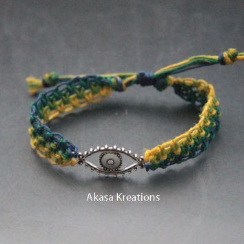 Adjustable Evil Eye Protection Macrame Hemp Bracelet Friendship Green Yellow Navy Blue Spiritual Ward