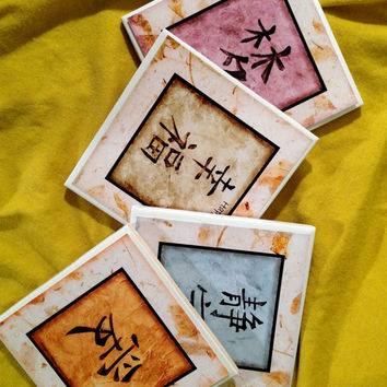 Chinese Coasters, Chinese Symbols, Asian Decor, Love Coasters, Dream, Serenity, home decor, decorative coasters, Happiness, Chinese, tiles