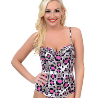 Betsey Johnson Fuchsia & Black Animal Attraction Retro Bump Me Up One Piece Swimsuit