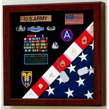 Flag Medals Display Case American Made Hand Made By Veterans