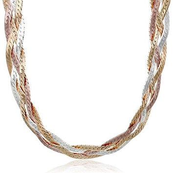 Sterling Silver Italian Tri-Color Four-Strand Braided Herringbone Chain Necklace, 18""