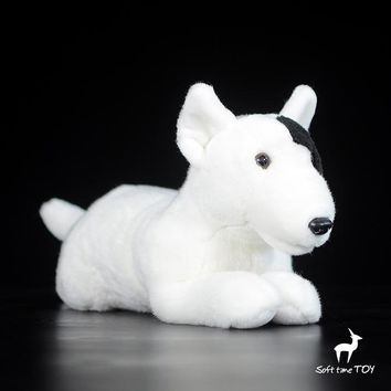 Lying Bull Terrier Dog Stuffed Animal Plush Toy 12""