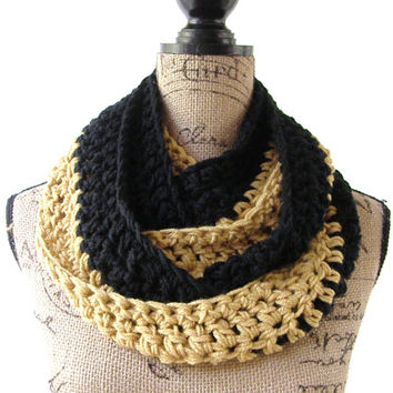 Ready To Ship Crochet Gold and Black  NFL, NHL Hockey Football Team Colors Infinity Scarf Unisex Scarf Men's Scarf 147