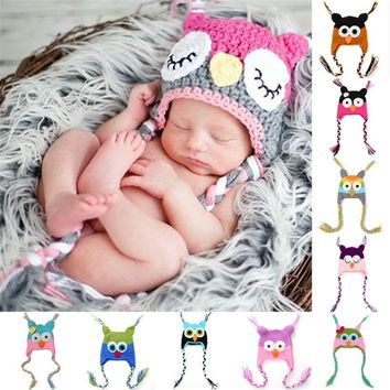 Baby Crochet Owl Hats Multiple Colors