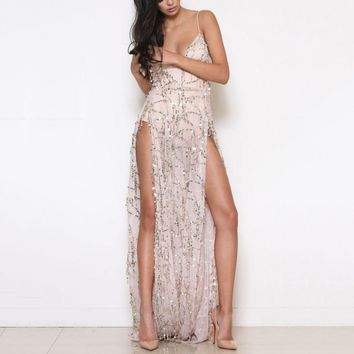 Fashionable sexy, open-back, black sling, sequined floor-mopping dress