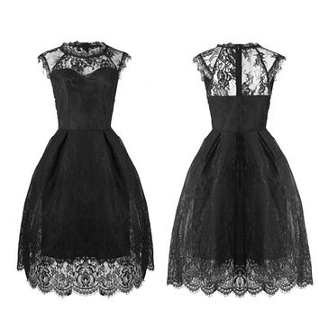 Full Lace In Built Tutu Flared Party Ball Cocktail Midi Dress for Formal Event