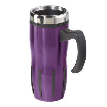 Stainless steel and purple lustre multi-grip travel mug 16 ounces