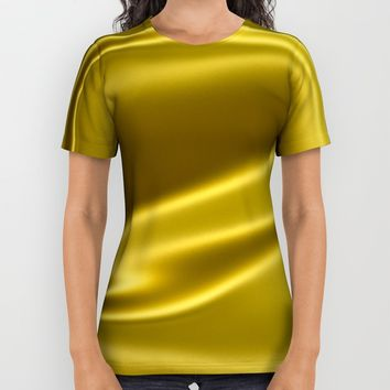 Gold sparkling silk folds All Over Print Shirt by Natalia Bykova