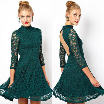 Autumn Lace Hollow Out One Piece Dress [6338908609]