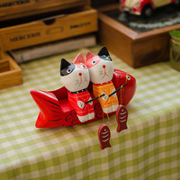 Nordic Wood Animal Couple Cats Decoration = 5893958593
