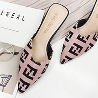 Fendi Fashion New More Letter Print Personality High Heels Shoes Women 1#