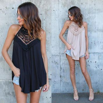 USA Women Summer Lace Vest Top Sleeveless Blouse Casual Sexy Tank Tops T-Shirt