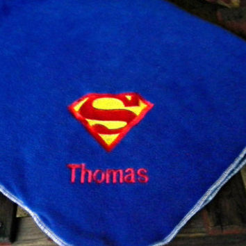 Super Man Inspired Fleece Baby Blanket -  Super Hero - Personalized