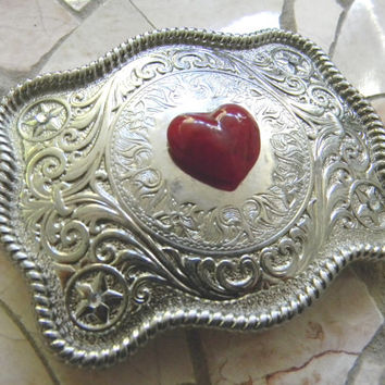 Red Heart Silver Belt Buckle, Rhinestone Western Womens Etched Belt Buckle, Silver Heart Cowgirl Girls Belt, Love Heart, Red Glass Heart