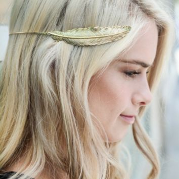 Gold Feather Crown Hair Piece