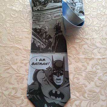 Wide Batman tie  - Light Blue Tie  - Grayscale print - Men gift - unique men gift- weddings-groomsman - Batman costume-