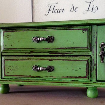 Vintage Wood Jewelry Box Hand Painted Distressed Green Rustic