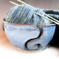 Denim BlueYarn Bowl, Ceramic Knitting Bowl