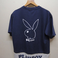 25% SALES ALERT Vintage 90's PB By Playboy Big Logo T Shirt Street Wear Swag Top Tee Urban Fashion Size L