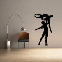 Wall  Decal Vinyl Sticker  Decor Art Bedroom Design Mural Nursery Ballet Gymnastic Ballerina Dancer Silhouette (z2519)