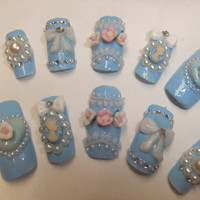 Sweet Lolita Light Pastel Blue Victorian Cameo Nails with bows & hearts acrylic art full false/fake Japanese 3D nail gothic aristocrat