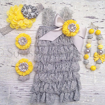 Grey and Yellow Lace Romper Outfit, Chunky Necklace, Headband and Barefoot Sandals - Newborns to Toddlers - 1st Birthday Outfit - Smash Cake