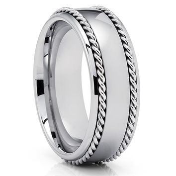 Men's Tungsten Wedding Band - Braid Tungsten Ring - Tungsten Carbide - 8mm
