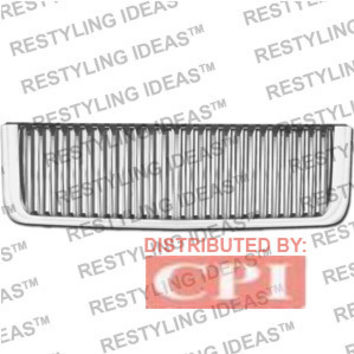 Gmc 2007-2009 Gmc Sierra Chrome Vertical Narrow Bar Abs Grille Performance