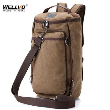 Wellvo Men Huge Luggage Travel Bag Army Bucket Backpack Multifunctional Military Canvas Backpacks Large Shoulder Bags Pack XA32C