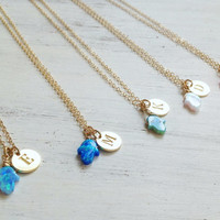 Personalized Necklace Initial Gold Bridesmaid Gift Opal Hamsa Bridesmaid Necklace Bridal Jewelry Personalized Wedding -629/LS