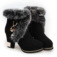 Chunky Heel Short Boots With Flock and Metallic Design