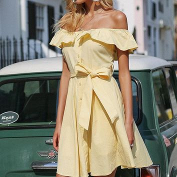 Ruffle Off Shoulder Bow Know Summer Backless Dress