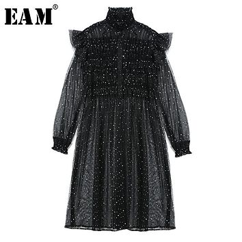 [EAM] 2018 New Summer Fashion Tide Black Mesh Patchwork Sequins Peespective Turtleneck Long Sleeve Woman Dress S542