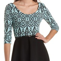 Belted Tribal Print Skater Dress by Charlotte Russe - Black Combo