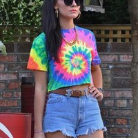 New 90's Spiral Neon Tie Dye T Shirt Crop Top 2969 from Gone Retro